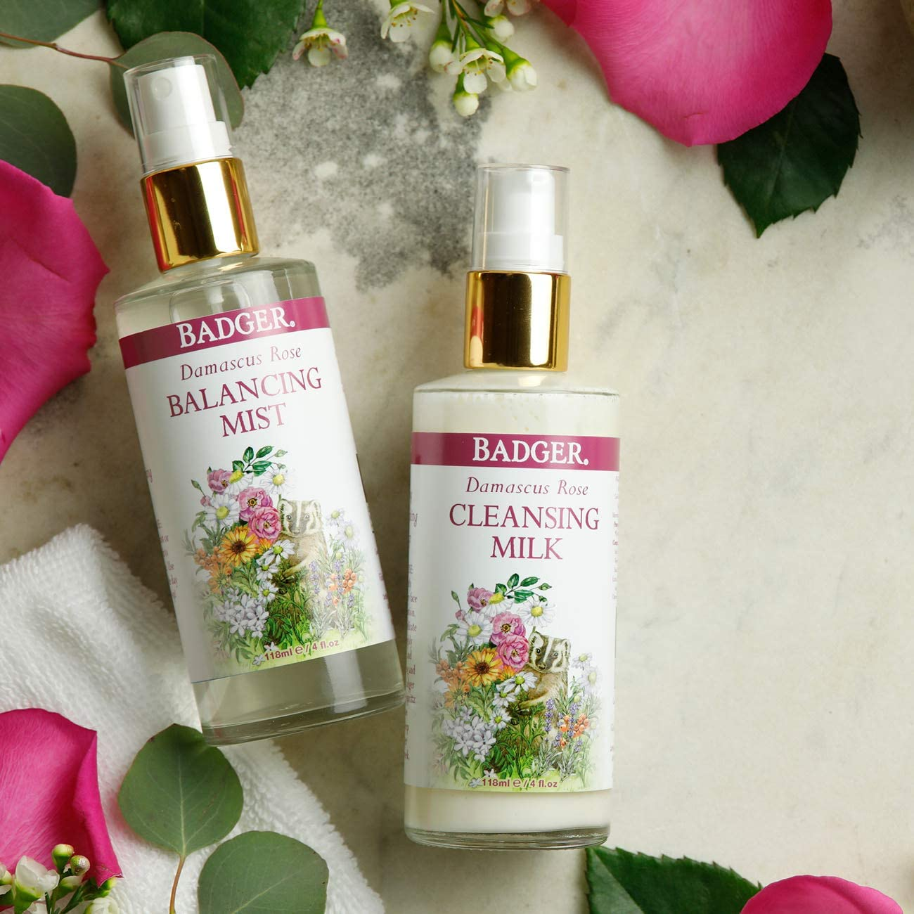Badger – Damasco Rose Cleansing Leche, botella de 4 oz