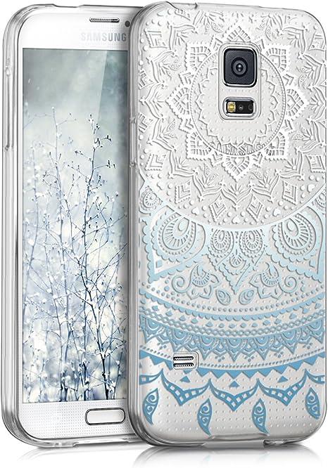 kwmobile Coque Compatible avec Samsung Galaxy S5 Mini G800 - Housse Protectrice pour Téléphone en Silicone Soleil Indien Bleu-Blanc-Transparent