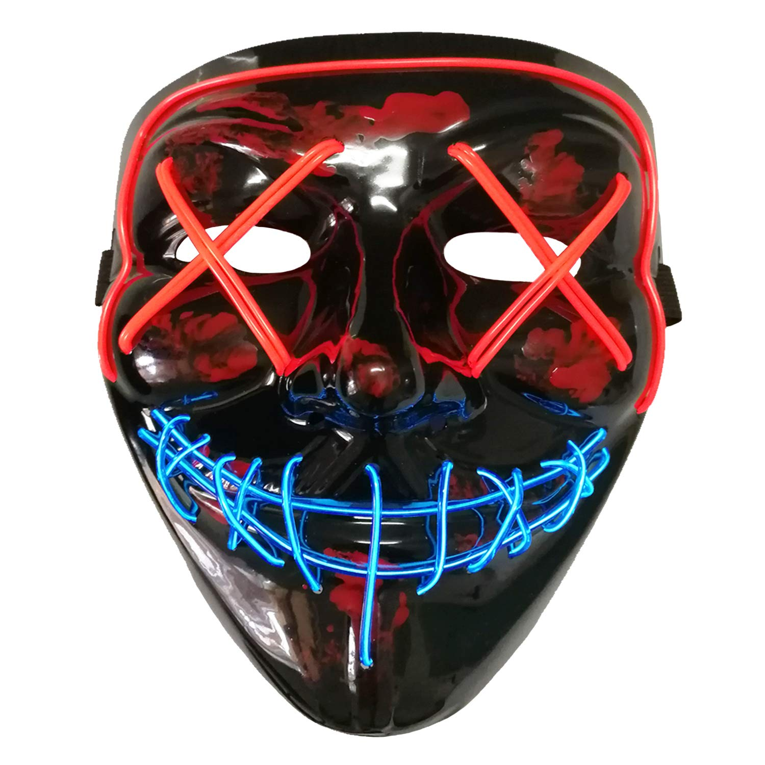 AUHOO Light up Purge Mask LED Halloween Mask Scary Mask Rave Party Costume(Red & Blue) by AUHOO