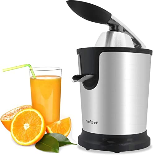 Stainless Steel Electric Juice Press-Citrus Juicer or Squeezer Masticating Machine w 160W Power