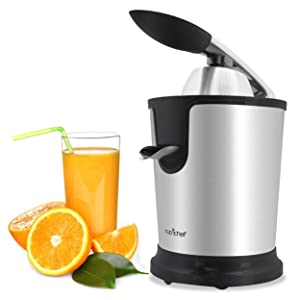 Stainless Steel Electric Juice Press - Citrus Juicer or Squeezer Masticating Machine with 160W Power, Handle and Cone for Orange, Lime, Pomegranate and Grapefruit and Lemon Fruit - NutriChef PKJCR305