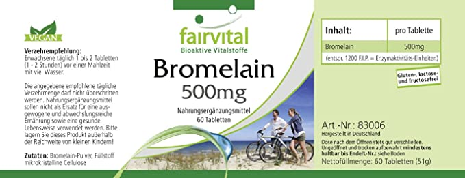 Bromelina comprimidos 500mg - VEGANO - Altamente dosificado - 60 comprimidos - 1.200 FIP - enzima de la piña - ¡Calidad Alemana garantizada!