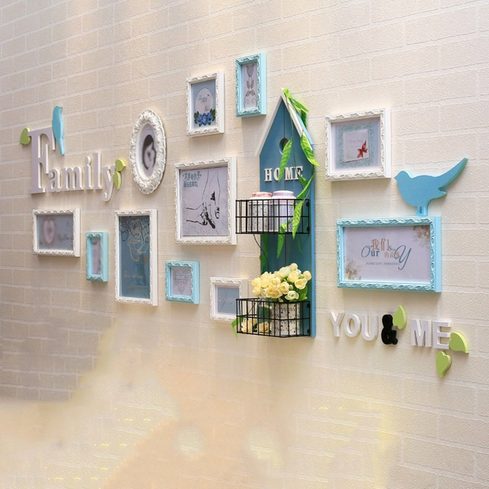 Modern minimalist photo wall / solid wood photo wall photo frame wall / living room combination of children's room 11 box 234 76cm ( Color : Blue )