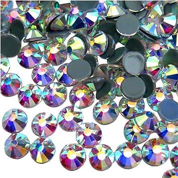 Jollin Hot Fix Cristal de Espalda Plano Vidrio pedrer/ía Gemas de diamantes redondos Strass para decoraci/ón de u/ñas Light purple AB SS20 576pcs