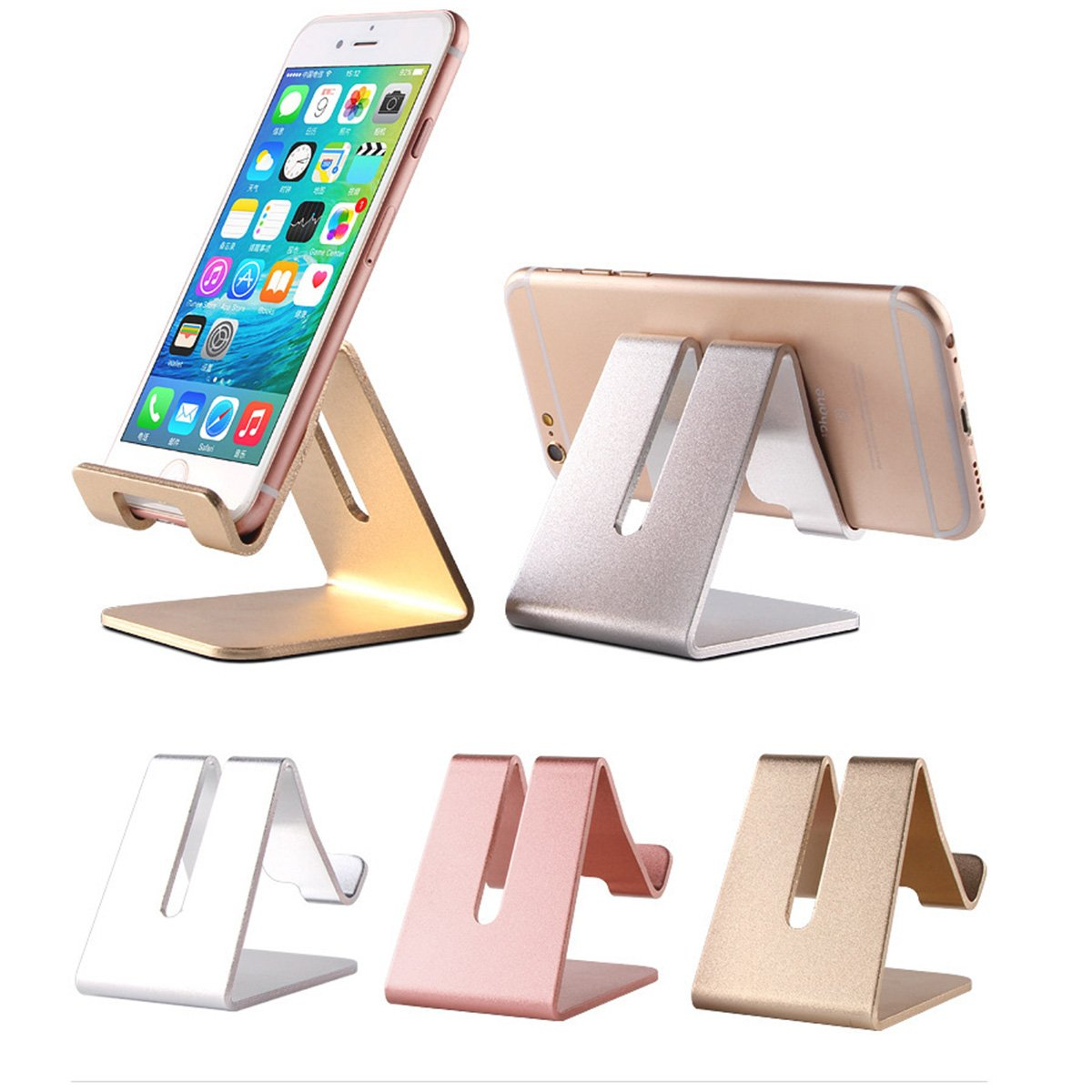 📱Cell Phone Stand Holder   To Beoneer Aluminum Desktop Solid Portable Universal Desk Stand For All Mobile Smart Phone Tablet Display Huawei I Phone 7 6 Plus 5 Ipad 2 3 4 Ipad Mini Samsung (Rose Gold) by Tobeoneer