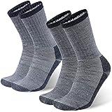 Wool Socks, RTZAT Merino Wool Hiking Outdoor Cushioned Thermal Thick Moisture Wicking Athletic Crew Socks