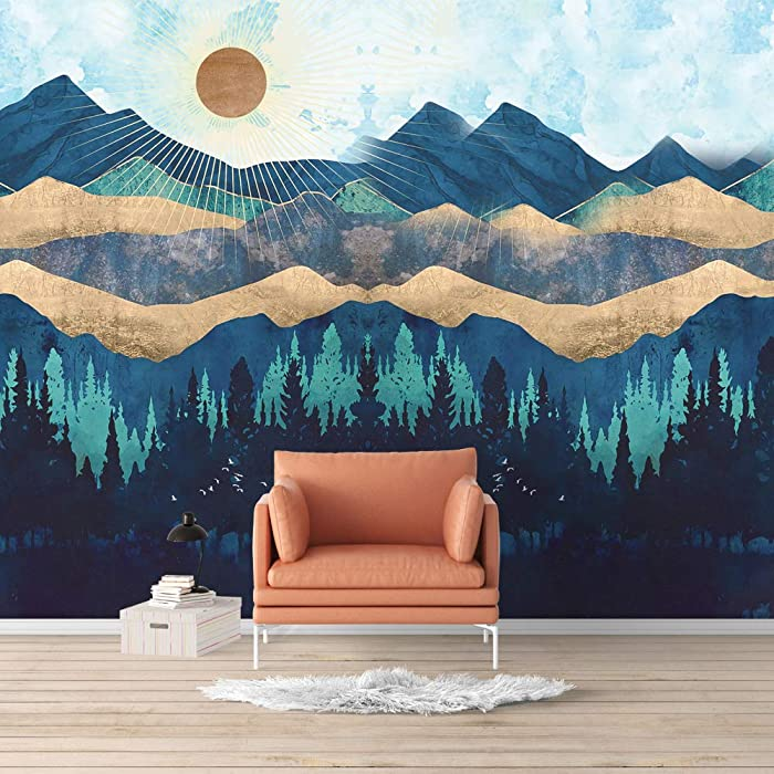 SIGNFORD Wall Mural Nordic Style Nature Landscape Removable Wallpaper Wall Sticker for Bedroom Living Room - 66x96 inches
