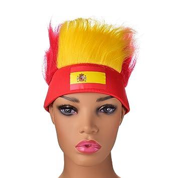 Joseche 2018 - Sombrero de fútbol con bandera nacional y peluca de colores ligeros que repelen