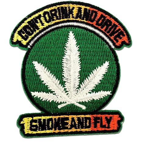 Cannabis Marijuana Weed Aufnäher // Bügelbild bunt 6,4 x 9,5 cm