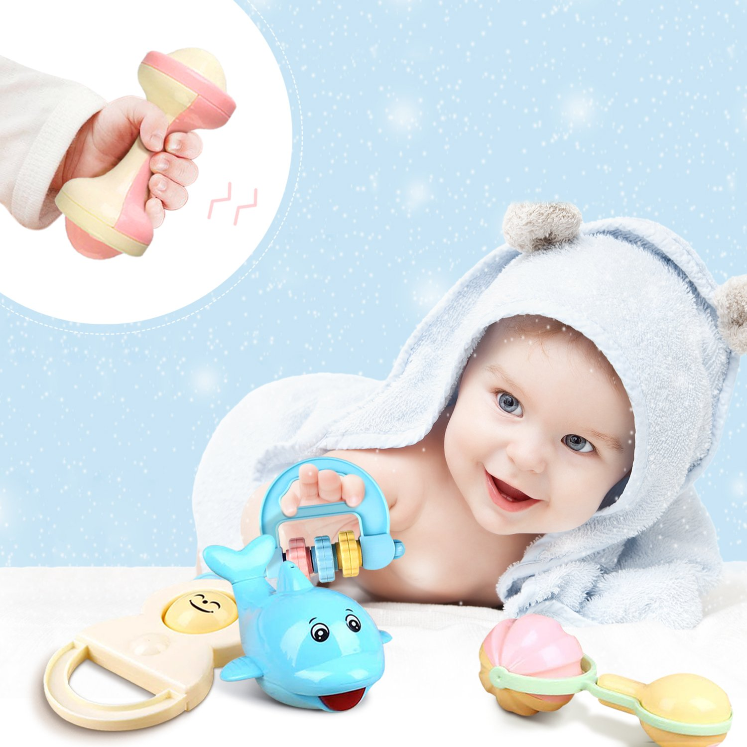 Baby Rattle Toys Set - Grab and Spin Rattle\'n Rock Shaker Ring Hand Bell Toys for Newborn Baby, Infant Toddler Nursery Gift Play Set by Peradix