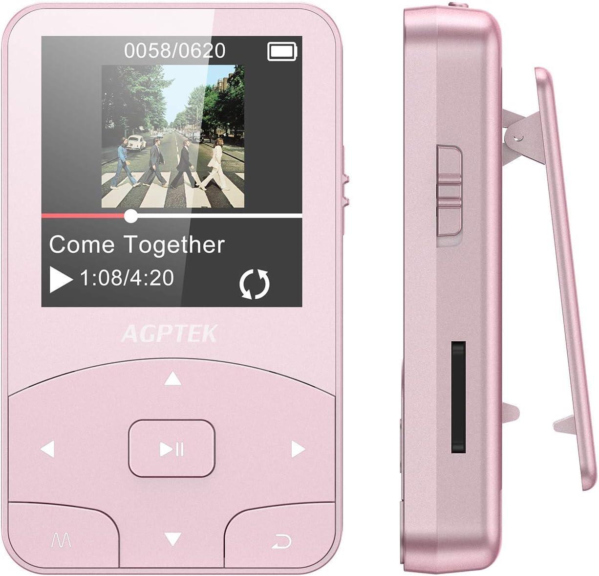 AGPTEK Reproductor MP3 Bluetooth Running, A58 HiFi Reproductor de Música 8GB con Podómetro, Radio FM, Grabación de Voz, E-Book, Soporta TF hasta 128GB, Rosa