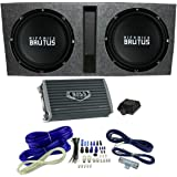 """Hifonics 15"""" Ported Car Package - 2) BRZ15D4 Subwoofers, Mono Amp, Box & Wire"""