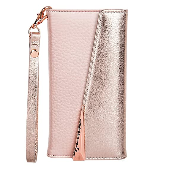 brand new 8bda4 50e45 Case-Mate iPhone 8 Case - WRISTLET FOLIO - Premium Pebbled Leather -  Protective Design for Apple iPhone 8 - Rose Gold - CM036128