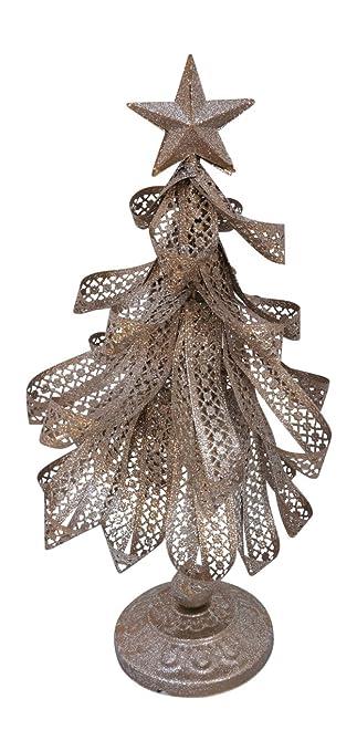 metal ribbon iridescent glitter christmas tree tabletop decoration - Iridescent Christmas Tree Decorations