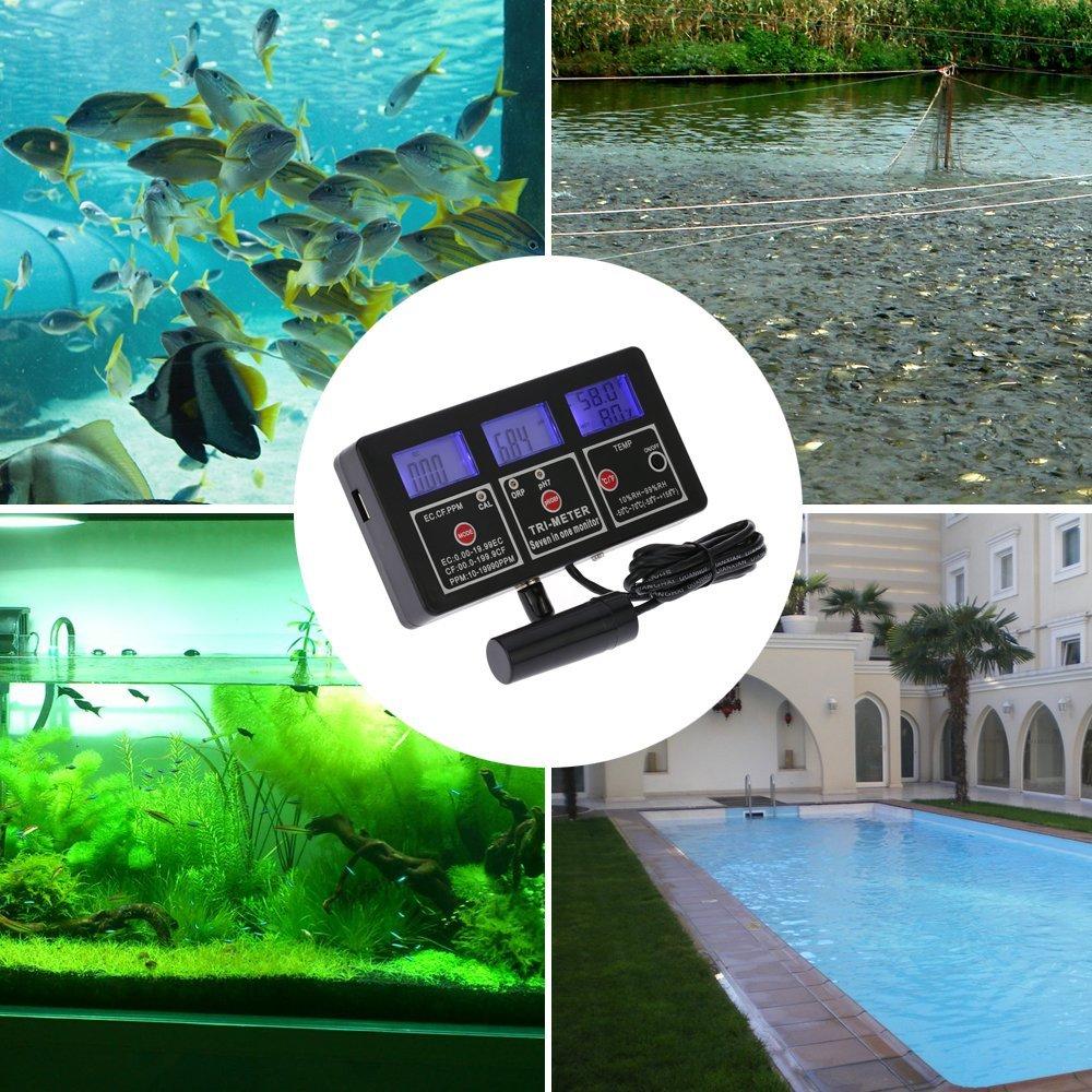 Kmoon 7 In 1 Multi Parameter Water Testing Meter Digital LCD Function Quality Monitor ORP PH RH EC CF TDSPPM TEMP Multiparameter