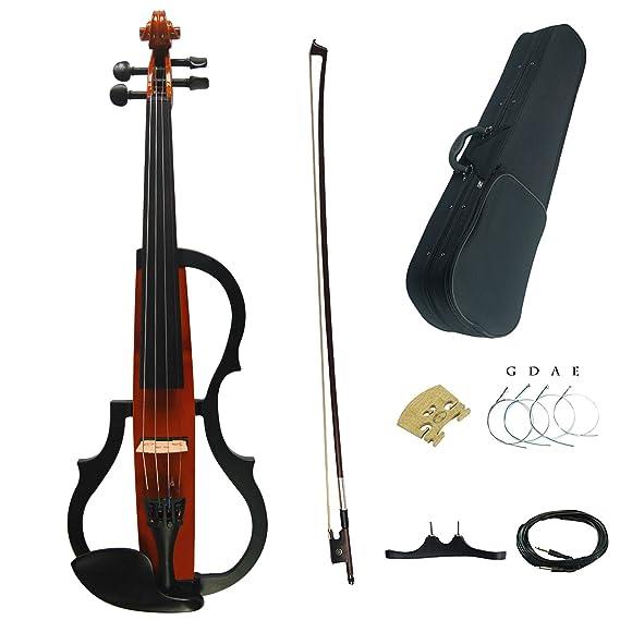 Aliyes hecho a mano Silencioso violín eléctrico 4/4 tamaño completo profesional Kit de violín estudiante de violín para principiantes y madera maciza cadena ...