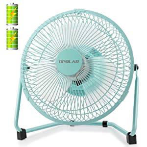 OPOLAR Battery Operated and USB Powered Rechargeable Desk Fan with Two Batteries, 9 Inch Metal Frame, Enhanced Airflow, Lower Noise, Two Speeds, Personal Cooling Fan for Home & Office