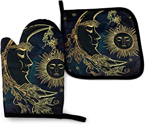 VGFJHNDF Moon Sun Star Oven Mitts and Pot Holders,Resistant Hot Pads with Polyester Non-Slip BBQ Gloves for Kitchen,Cooking,Baking,Grilling