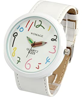 ShoppeWatch Womens White Casual Fun Watch Big Face Unisex Leather Band Reloj para Dama SW8329WHWH