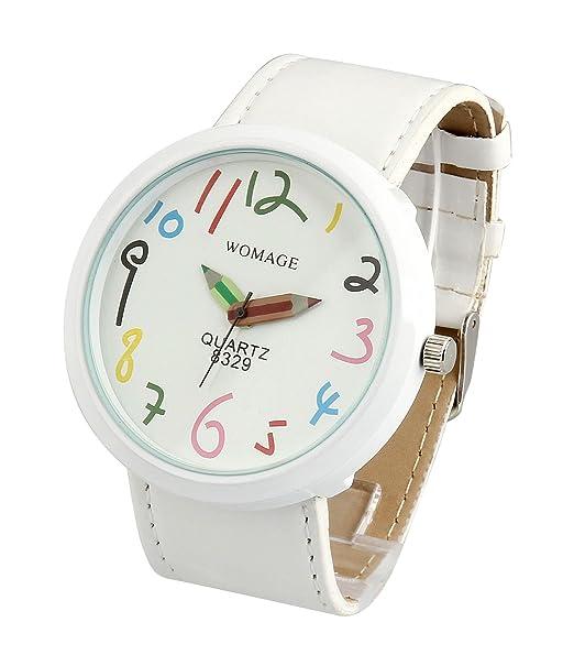 ShoppeWatch reloj de mujer color blanco Casual divertido Big Face Unisex piel banda reloj para dama