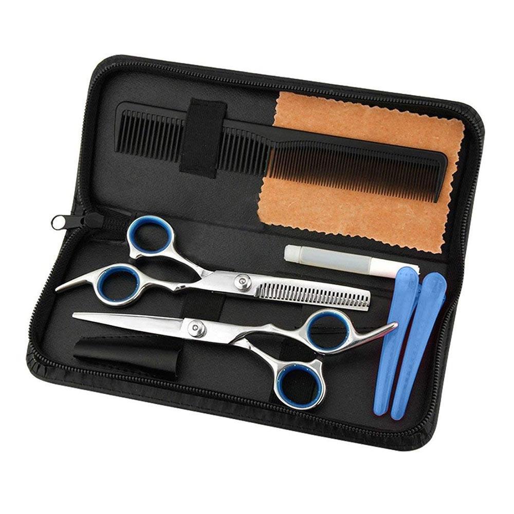 Set de tijeras para el pelo, leegoal, profesional, acero inoxidable, para cortar el pelo, barbería, salón o hogar, con tijeras de texturización, 2 clips, peine, funda de cuero