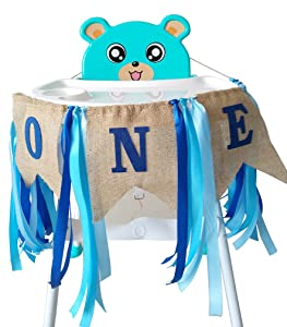 Jefferson 1st Birthday ONE High Chair Banner for Boys Girls First Birthday Decorations Burlap Birthday Banner (Blue)