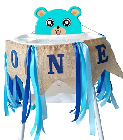 1st Birthday ONE High Chair Banner For Boys Girls First Decorations Burlap