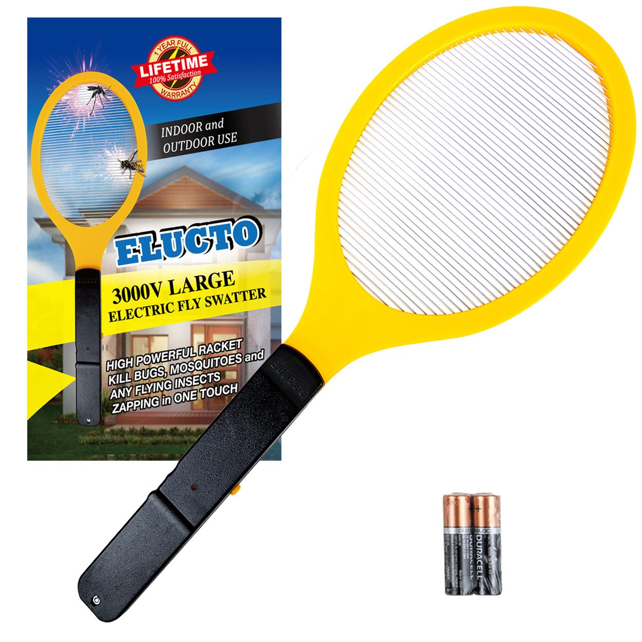 Elucto Large Electric Bug Zapper Fly Swatter Zap Mosquito Best for Indoor and Outdoor Pest Control (2 DURACELL AA Batteries Included)