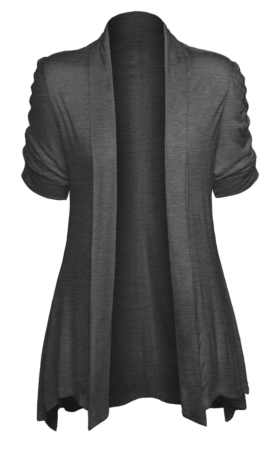 Women's Open Front Ruched Short Sleeve Shark Bite Hem Casual Plus Size Cardigan