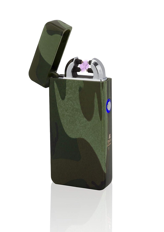 TESLA Lighter Briquet à Arc T08, Arc Double Plasma, Camouflage/Flecktarn
