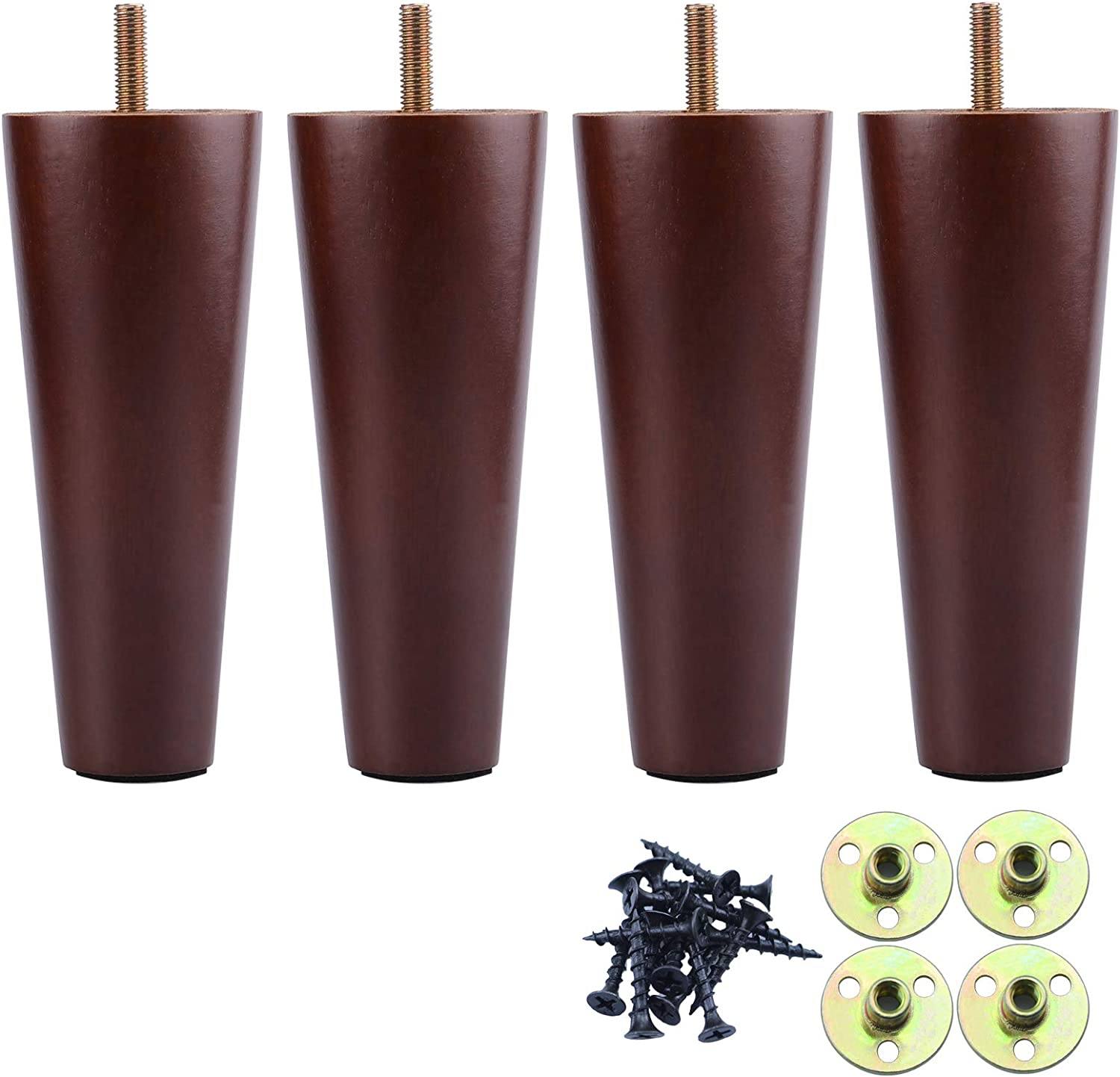 Couch Legs 6 Inch, Wood Furniture Feet Sofa Legs Set of 4, Solid Wood Dark Walnut Sofa Feet, Replacement Legs for Armchair, Cabinet, Chair, Mid Century Modern Dresser, Bun Feet