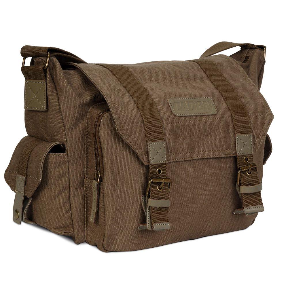 Lightweight Vintage Waterproof Canvas DSLR SLR Shockproof Camera Shoulder Messenger Bag for Canon Sony Nikon by CADeN