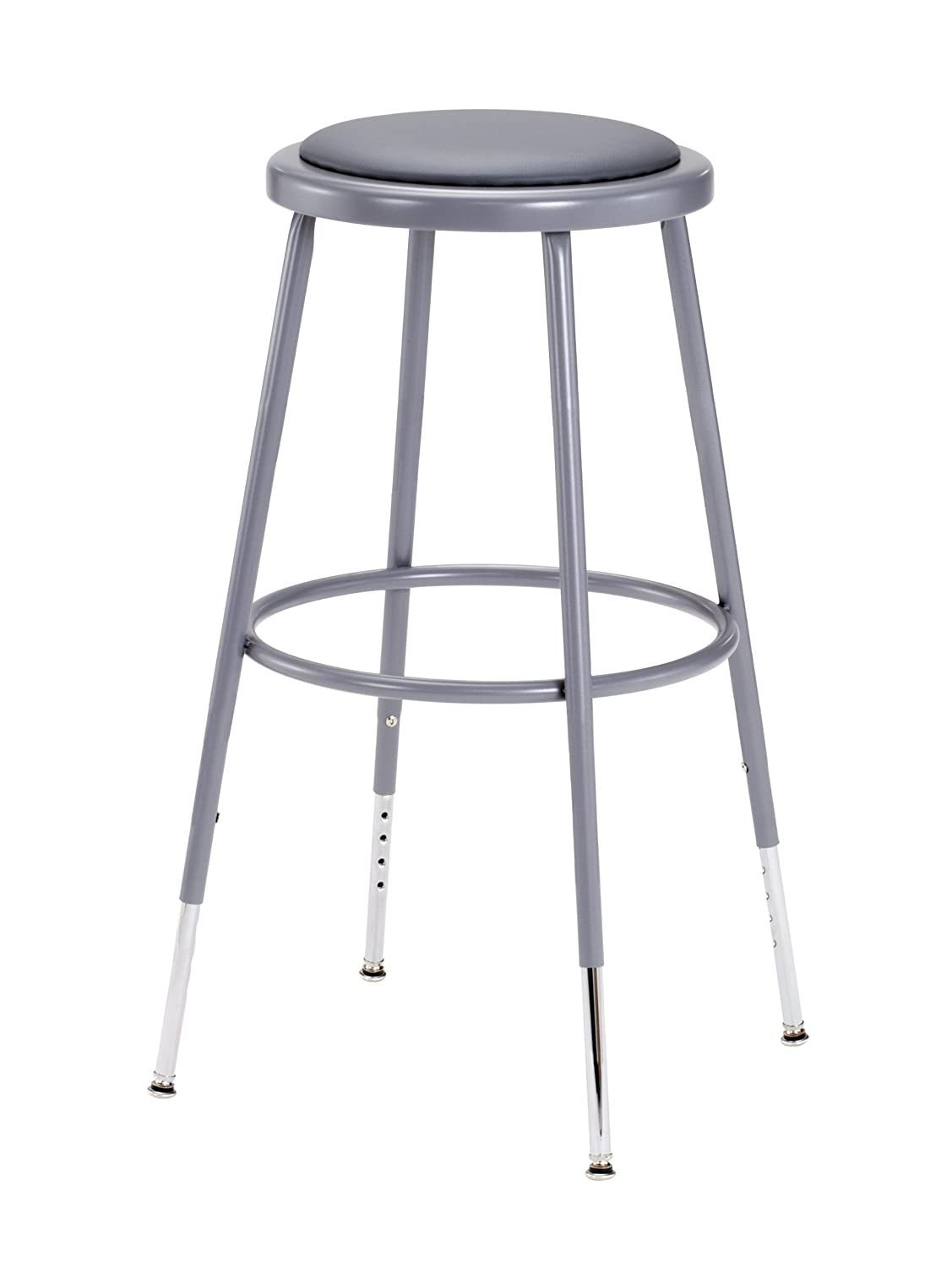 "National Public Seating 6424H Grey Steel Stool with Vinyl Upholstered Seat Adjustable, 25""-33"""