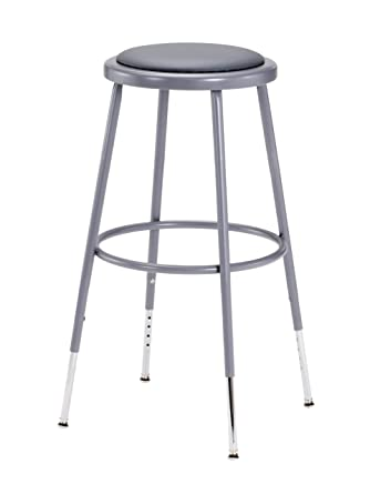 """National Public Seating 6424 H Grey Steel Stool With Vinyl Upholstered Seat Adjustable, 25"""" 33"""" by National Public Seating"""