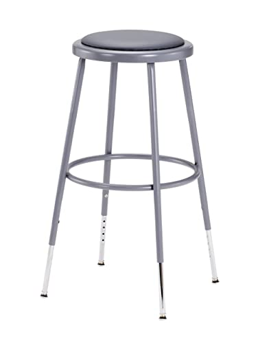 National Public Seating 6424H Grey Steel Stool with Vinyl Upholstered Seat Adjustable, 25 -33