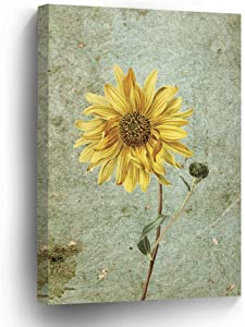 wonbye Vintage Canvas Painting Wall Art Picture for Home Decoration | Yellow Sunflowers Daisy Rustic On Canvas Giclee Artwork for Wall Decor 12 x 15 Inches