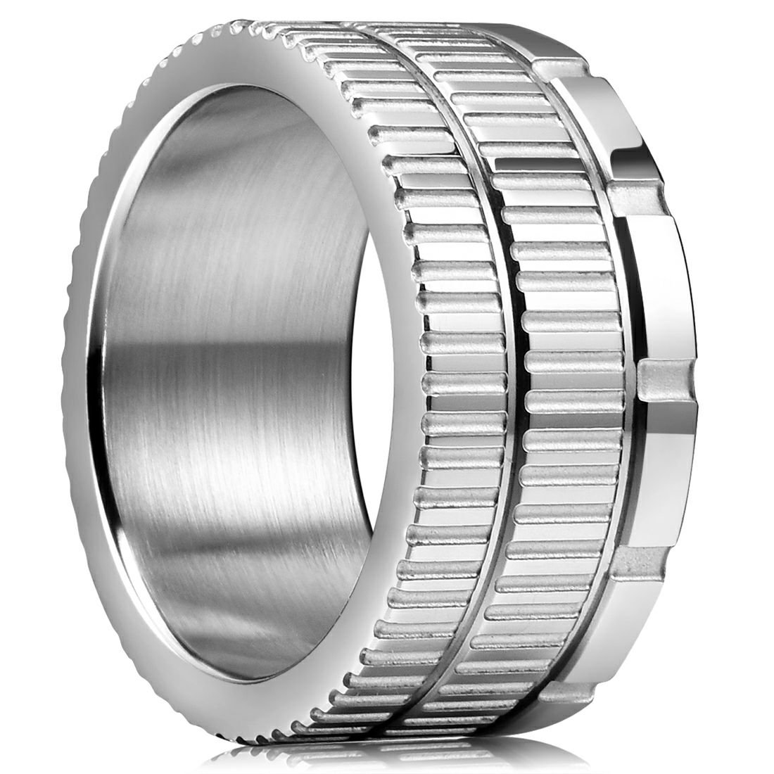 King Will 10.6mm 316 Stainless Steel Wedding Band Ring with Sawtooth Pattern Curved in Base&Inner Surface Matte(10)