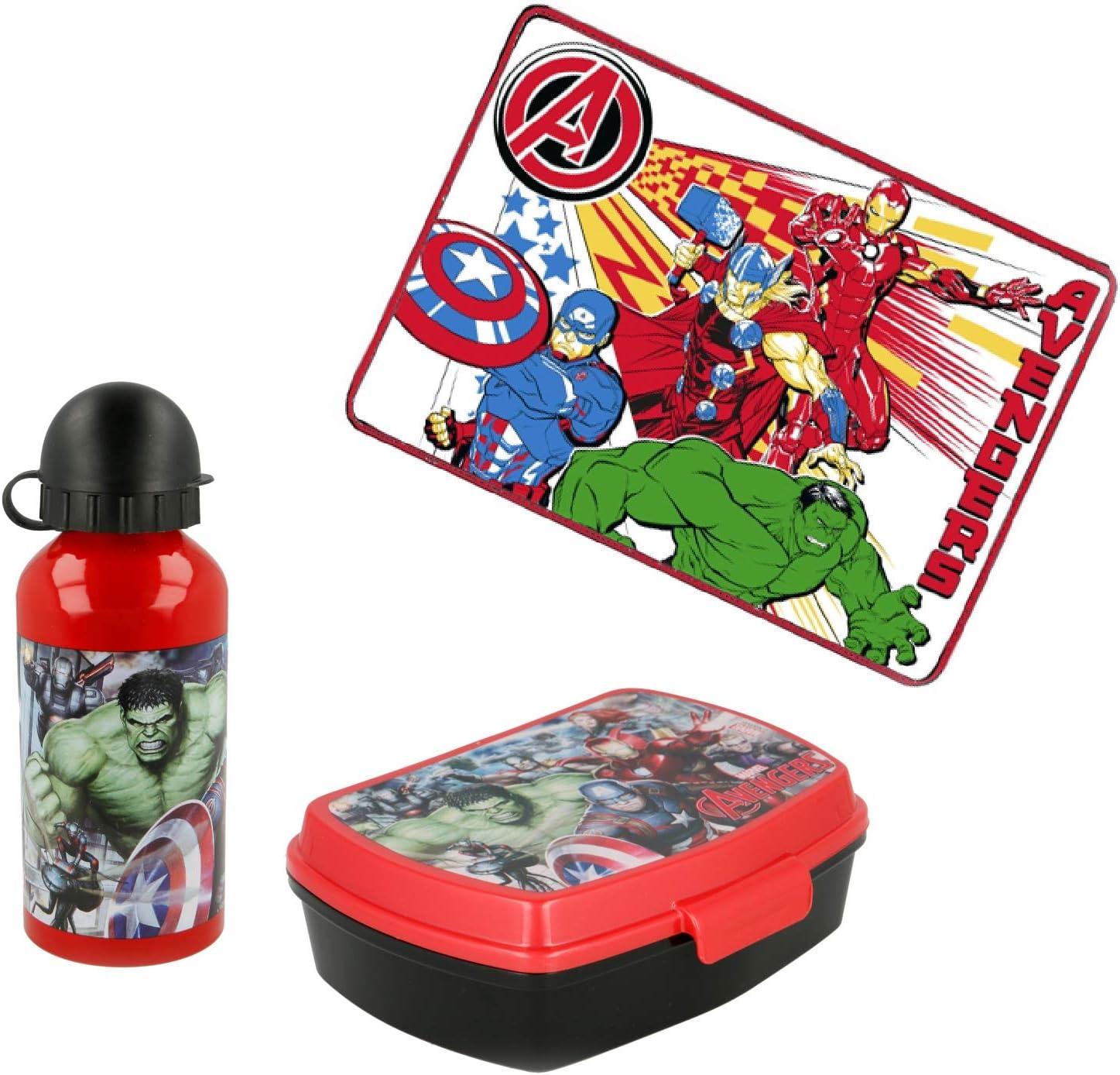 Borraccia in alluminio Portamerenda e Tovaglietta Avengers