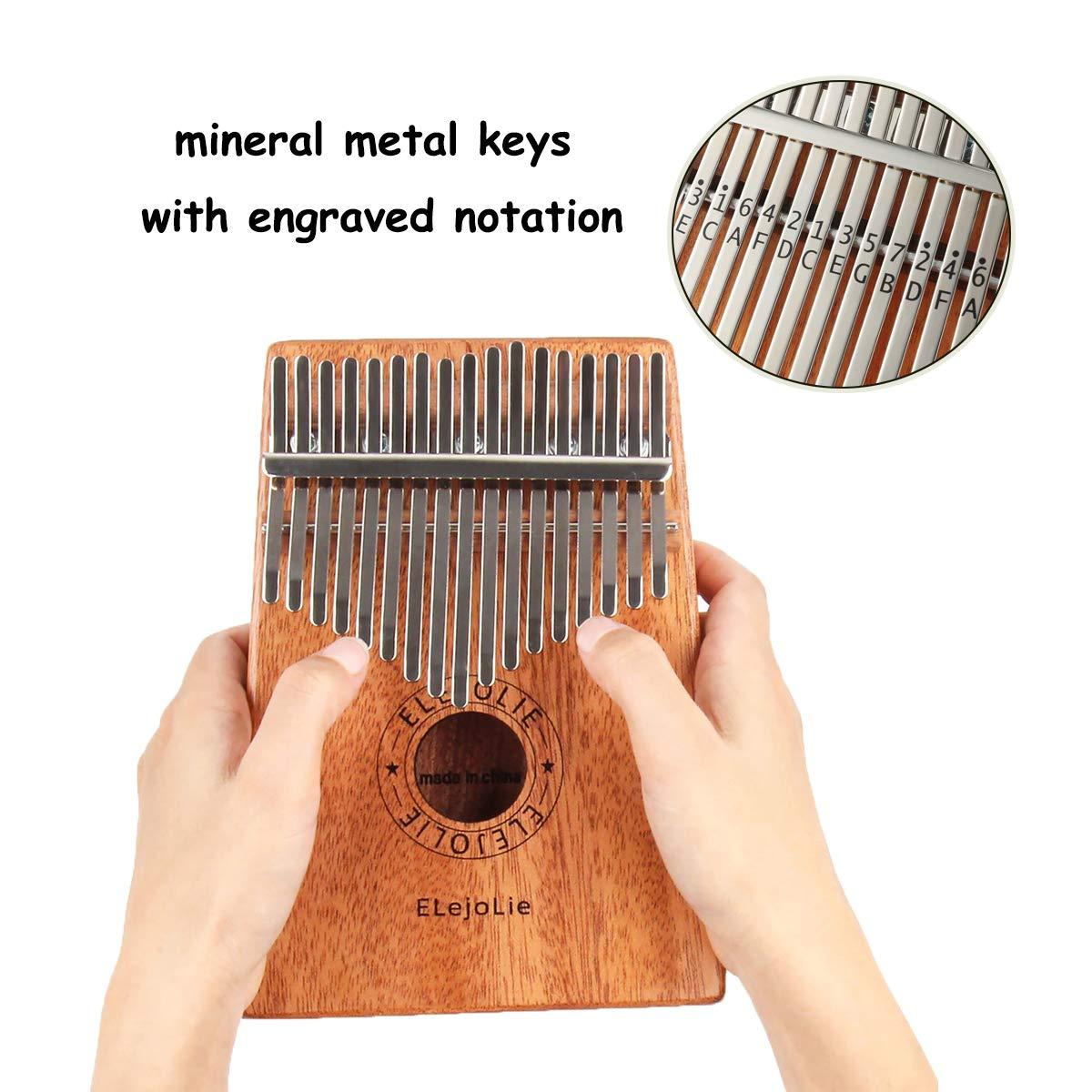 Elejolie Kalimba 17 Keys Thumb Piano Portable Beginner Piano Entry Finger Piano Mahogany Wood Best Gift for You by Elejolie (Image #3)