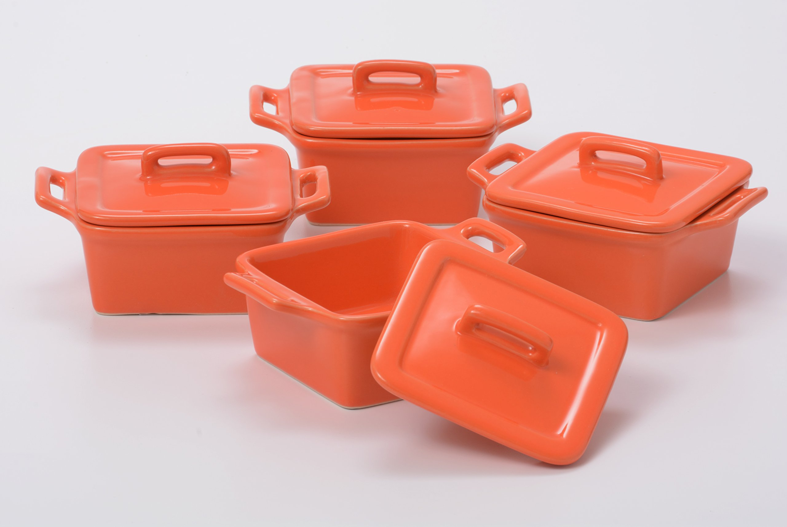 O-Ware Orange Stoneware Mini Square Baker with Lid, Set of 4
