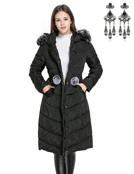 MODETREND Mujer Abrigo Chaqueta Otoño Invierno Slim Fit Chaquetas de Plumas  con Cuello de Piel Espesado Abrigo con Capucha Encapuchado  Amazon.es  Ropa  y ... 5d3da75fdbde
