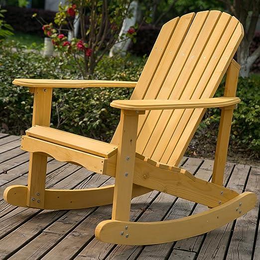 Leisure zone®, sedia a dondolo Adirondack da giardino e cortile, in legno massello naturale, comodo schienale curvo, perfetto per uso esterno o