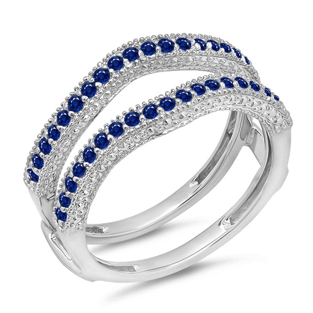 Dazzlingrock Collection 0.45 Carat (ctw) 14k Blue Sapphire Diamond Wedding Millgrain Guard Ring 1/2 CT, White Gold, Size 6