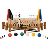 """6 Player Pro Croquet Set with Wooden Box - Contains 2 sizes of hardwood mallet; 2 x 34"""" and 4 x 38."""" The set also includes 6 composite balls, 6 steel hoops, hoop smasher, markers, clips, flags and a centre peg. All in a wooden storage box."""