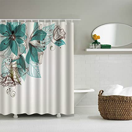 Image Unavailable Not Available For Color Decohon Turquoise Flower Home Decor Bathroom Fabric Shower Curtain