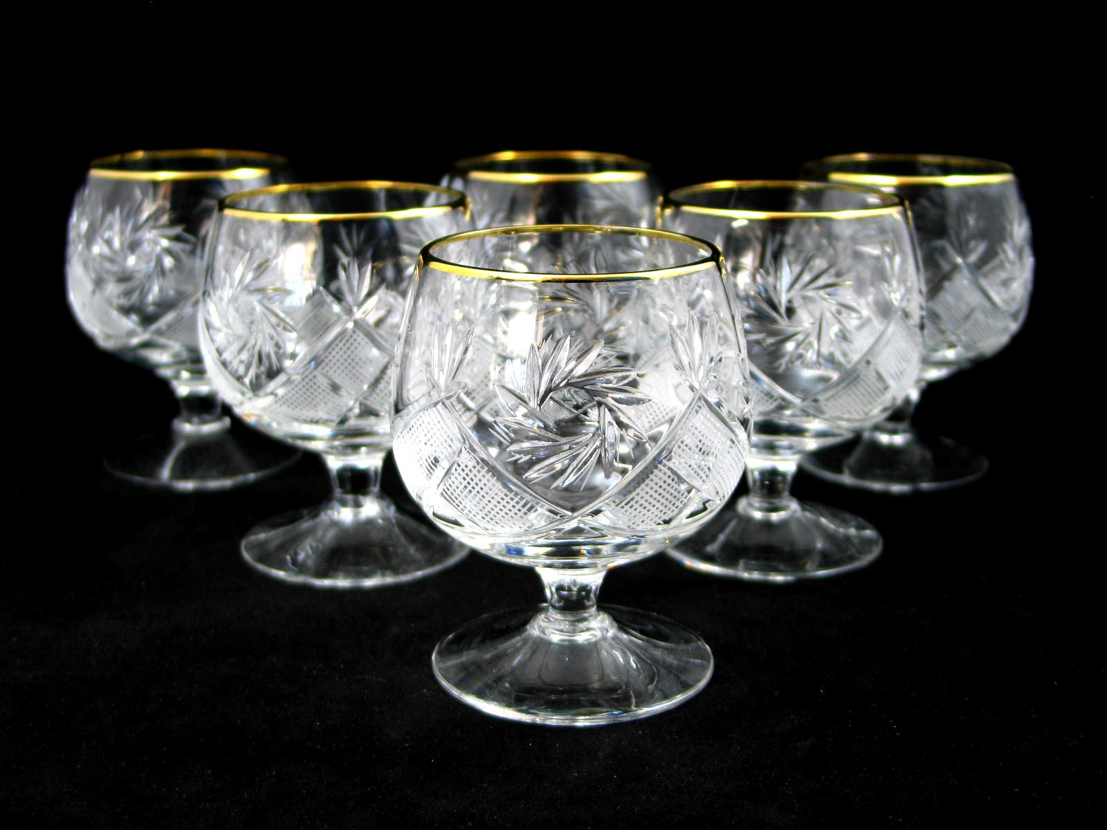 SET of 6 Russian Cut Crystal Cognac Scotch Whiskey Stemmed Snifter Goblet Glass 24K Gold Rimmed 10 Oz. Vodka Liquor Old-fashioned Glassware Hand Made by Neman Crystal (Image #2)