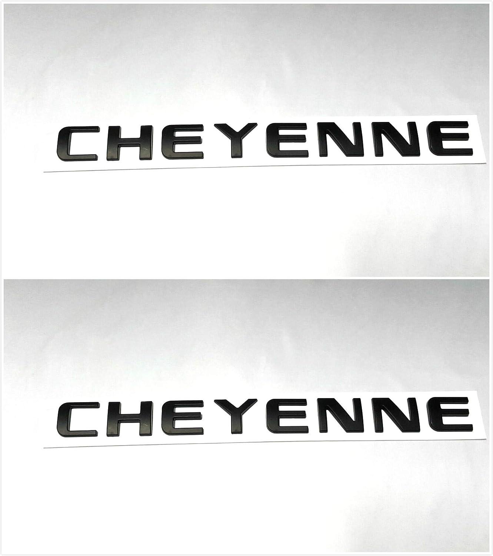 Vestian 2 Pair Black CHEYENNE EMBLEMS Badge Nameplate For Chevy Silverado SIERRA DENALI 2500HD 3500HD Glossy Black