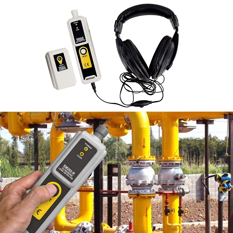 MRCARTOOL Polvo de gas del aire del agua del detector de fugas ultrasónico con el kit del accesorio del auricular LED Detector de fugas de los detectores de ...