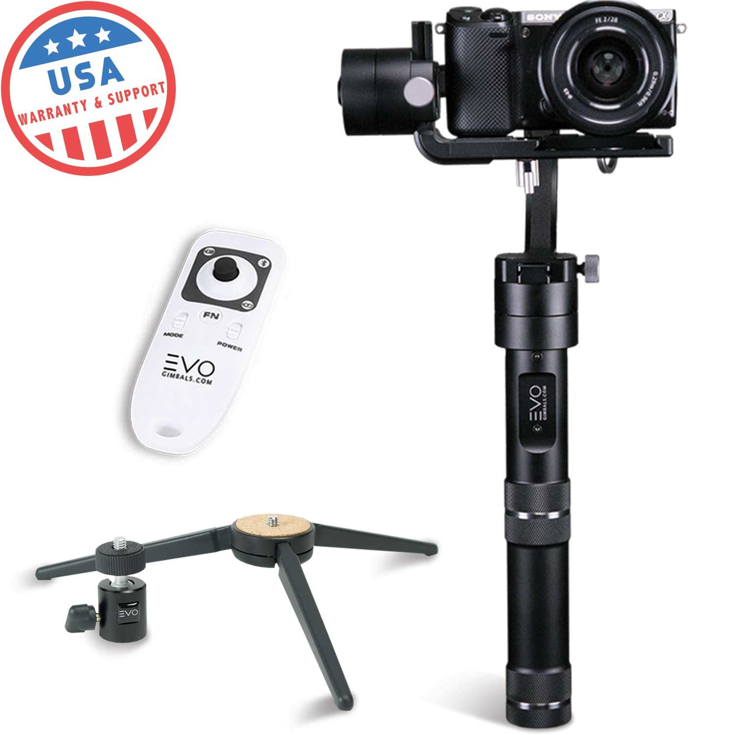 EVO RAGE-S 3 Axis Handheld Gimbal for Smartphones, Action Cameras & Mirrorless Cameras   1 Year US Warranty   Bundle Includes: EVO Rage-S + EVO Wireless Remote + Tripod Stand