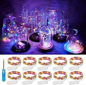 Chinety Colorful LED Fairy Light String 10 Pack Micro 20 LED Battery Operated Silver Wire Lights Mini Waterproof Twinkle Star Starry Lights Mason Jar Lights for Party Wedding Bedroom Decor(Multicolor)